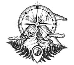 Mountains and compass tattoo. Symbol of tourism, rock climbing, camping. Mountai… Mountains and compass tattoo. Symbol of tourism, rock climbing, camping. Mountain top and vintage compass tattoo and t-shirt design Trendy Tattoos, New Tattoos, Body Art Tattoos, Tattoo Drawings, Tattoos For Guys, Cool Tattoos, Tatoos, Tattoo Rose Des Vents, Vintage Compass Tattoo