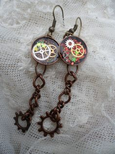 Timely Affair  Resin Steampunk Earring Set by MamaCassQueen, $12.50