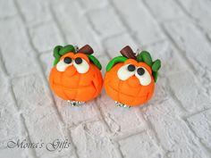 Happy Halloween pumpkins - Polymer clay jewelry - Fall jewelry trends - Autumn dangling earrings - Cute Haloween earrings - Fall gift ideas