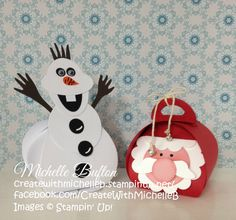 Santa and Olaf, I used Stampin' Up! Curvy Keepsake Thinlits Die to create Santa and Olaf and I use an assortment of punches to create both character's. CreatewithMichelleB | Michelle Bufton – Independent Stampin' Up! Demonstrator | http://createwithmichelleb.stampinup.net/ | https://www.facebook.com/CreateWithMichelleB