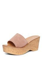 Womens Pink Rose 'Rodeo' Studded Wedge Sandals- Pink
