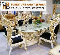Meja Makan Ukir Jepara - Furniture Jepara - Furniture Jepara Elegant Dining Room, Dining Room Table, Dream Home Design, House Design, Luxury Home Furniture, Luxury House Plans, Interior Design, Gaston, Villa