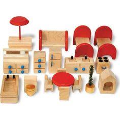 Goki maison de poupée Bois 3 étages maison poupée Jouet pour à cintrer Poupées famille