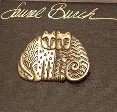Broche de jumeaux Laurel Burch chat (Neuve d'époque Vintage / neuf / jamais servi)