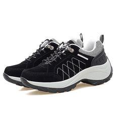 sale retailer d2679 42202 Color Blocking Leather Lace Up Sport Platform Trainers