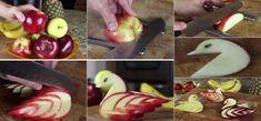 How to make an Edible Apple Swan [video] http://www.youtube.com/watch?v=uLXEiMIiF5E&feature=youtu.be
