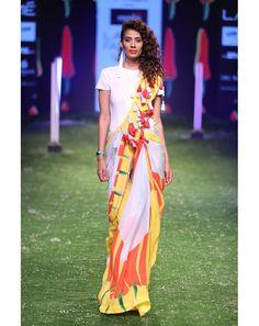 Colour block chilli saree with fringe palla and white blouse