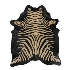 Brown on Black Zebra Cowhide Rug