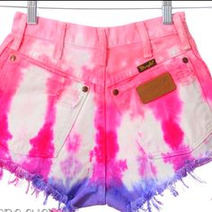 DIY: bleach your shorts all the way (or use white shorts) tie up the top of the shorts with rubber bands and dye top of shorts color of choice then color the bottom of the shorts with a diffrent color!