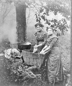 Doing laundry. And we like to complain about how har d it is to get stuff done.. theese ladies are probably turning over in their grave