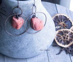 Bohemian earrings copper hoop earringscoral earrings by MisMundos, $37.00