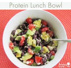Protein Lunch Bowl Recipe (Gluten Free) High Protein Meal Prep, Protein Lunch, Protein Salad, Real Food Recipes, Vegetarian Recipes, Cooking Recipes, Healthy Recipes, Protein Recipes, Detox Recipes