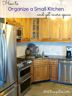 Best tips on how to organize and get more space in a small kitchen. A few of these are why didn't I think of that ideas, but will change the way you look at your small kitchen space! http://H2OBungalow.com