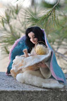 Needle felted Nativity  .Saint Mary. Needle felt by Daria Lvovsky