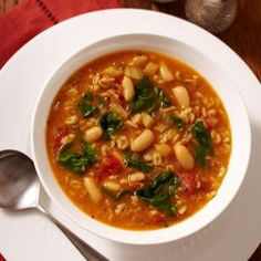 white Bean( cannelini) & Barley Soup Fennel bulb, fire roasted tomatoes, spinach