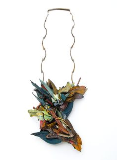 Attai Chen Necklace: Untitled, 2015 Paper, paint, wood, glue, silver, shibuishi 37 X 16 X 6 cm Photo by: Attai Chen From series: Compounding Fractions