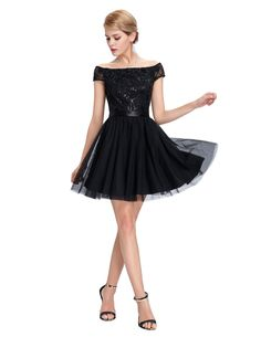Prom Dresses 2016 New Arrival Black Cap Sleeve Sexy See-Through Back Off  the Shoulder Short Prom Dresses Under 50 20ac3c8cfdad