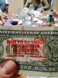 """Out to dinner in Annapolis. Waiter brought back the change and a $1 bill had a @StampStampede stamp! #GetMoneyOut"""