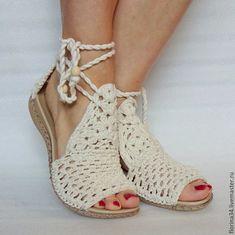 Купить Сандалии вязаные Beauty, белый, лен - балетки, белый, бохо, подарок, туфельки
