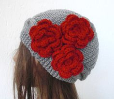 Hand knit hat with flower   Red fashion  Cloche hat   in by Ebruk, $35.00