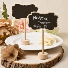 Add a fun school room ambiance to your event with these classic little chalk board placecard holders! For a great old-fashioned touch, use these rustic place holders to mark your table numbers and guest names. They have a beautiful natural wood finished border in a plaque shape that holds a [...]