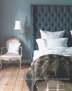 "This is exactly how I'm making my tufted winged headboard! Super tall, with diamond tufting pattern with the side ""wings."""