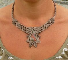 Multicolored spiderweb agate macrame necklace