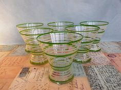 Six 1950s tumblers or cocktail glasses with by KittysVintageVault