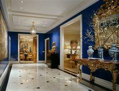 sapphire blue walls.