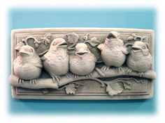 Baby Birds Perched on Tree Branch Handcrafted Concrete Plaque