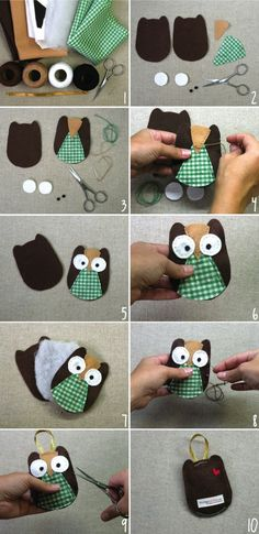 Owl Ornament - Tutorial _ DIY by hillary Owl Crafts, Diy And Crafts, Crafts For Kids, Arts And Crafts, Owl Ornament, Felt Ornaments, Fabric Crafts, Sewing Crafts, Sewing Projects