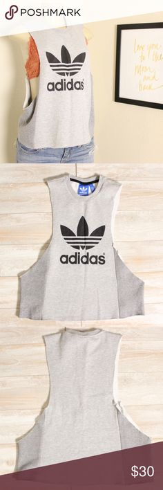 Adidas raw hem sweater⭐️ Adidas raw hem sweater, arms have been cut and also cropped as seen in pictures,NWOT, new without tags size small⭐️ adidas Sweaters