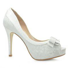 Sapato de Noiva Peep Toe Laura Porto  Branco Prata - MH041: Femininos