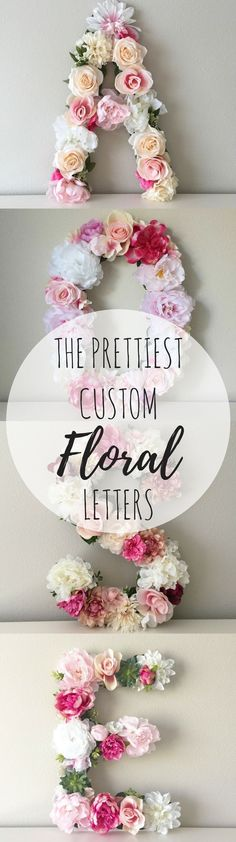 """Absolutely Stunning Handmade Floral Custom Letters. This beautiful customized 19"""" or 24"""" tall floral letter or number is perfect for a bridal shower, wedding decor, baby shower, nursery decor, personalized gift, birthday party, photo shoot prop, or sorority event! #floralletters #diyhomedecor #floraldecor #artificialflowers #afflink"""