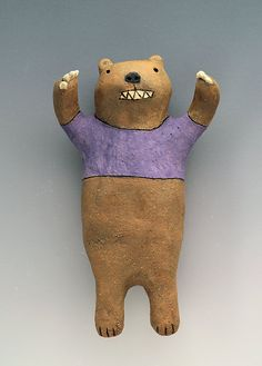 Ceramic Wall Art Growling Bear  by saraswink