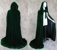 "Amazon.com: Lined Green Black Velvet Cloak 50"" - Medieval Renaissance Costume St. Patrick's Day Mardi Gras by Artemisia Designs: Clothing"