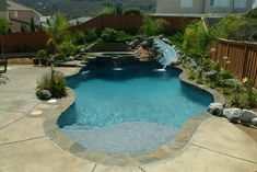 Freeform Pools: Page 1 — California Pools Water Slides Backyard, California Pools, Small Inground Pool, Outdoor Living, Outdoor Decor, Swimming Pools, Backyards, Places, Pool Ideas