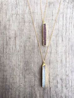 Druzy Bar Necklace / Druzy Necklace / Vertical Druzy by niccoletti♡➳ Pinterest: miabutler ♕☾♡