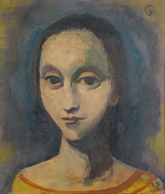 Karl Hofer (Germany 1878-1955), MÄDCHENKOPF (Head of a Woman), oil/card, 1933. Sold Sotheby's London, 2014. The Nazis declared his art degenerate; 1943 almost all his work was destroyed during a bombing. His art has a special niche within classical modernism, defined both by his pursuit of an ideal classical form, seen in his landscapes, still lifes and interiors, and by the representation of the real world as shown in his visionary paintings and melancholic female portraits.