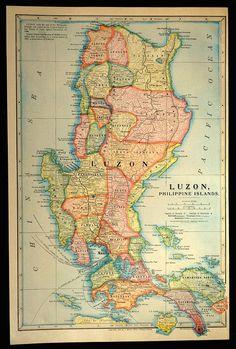 Luzon Map Luzon Island Philippines Philippine Islands 1899