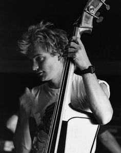 Sting with a double bass. Warning: Only play a double bass if you are rich enough to have roadies to carry it around for you. #toobigman
