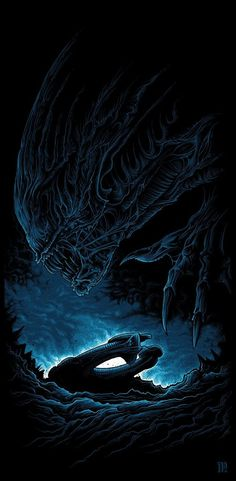 Created in conjunction with Hero Complex Gallery, is a screenprinted tribute to the original Alien film. x 4 colours, limited edition of Alien Vs Predator, Alien Films, Aliens Movie, Xenomorph, Interstellar, Horror Art, Horror Movies, Art Alien, Dan Mumford