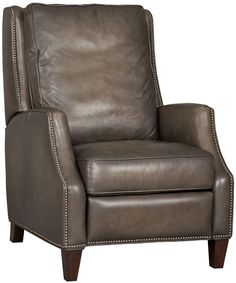 High Leg Leather Recliner Chair in Slate Green/Gray by Hooker Furniture - Home Gallery Stores