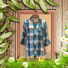 Plaid Button Down Top Can be worn either as a 3/4 sleeve or as a long sleeve, blue and teal color , 100 % cotton Tops Button Down Shirts