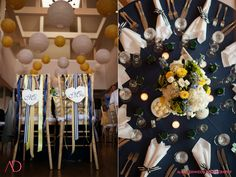 Azalea Floral Design - Yellow, white and navy blue flowers, ribbons and paper lanterns at the Guilford Yacht Club. Hydrangeas, delphiniums, lisianthus, fiddlehead ferns.