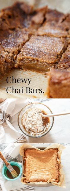 Chewy chai bars. Ooey, gooey, and chewy. Easy recipe! No mixer required.