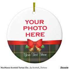 MacManus Scottish Tartan Christmas Photo Double-Sided Ceramic Round Christmas Ornament
