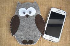 Custom felt phonecase owl universal hand made.