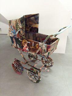 Upcycling Genius - Ulla Stina Wikander cross stitch sculptures - Baby Carriage