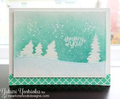 """""""Thinking of You"""" by Handmade by Yuki Cat Silhouette, Watercolor Effects, Deck The Halls, Ink Pads, Christmas Tag, Nook, Pine, Stencils, Paper Crafts"""